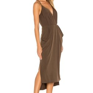 BCBGeneration Faux Wrap Midi Dress in Coffeebean